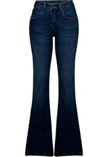 Calça Jeans Hering Flare Com Lavação Estonada Feminina - Feminino-Azul