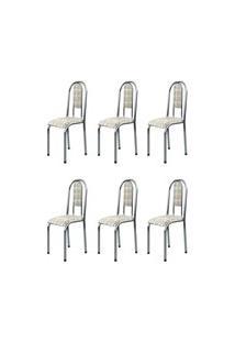 Kit 6 Cadeiras Anatômicas 0.122 Estofada Cromado/Bege - Marcheli