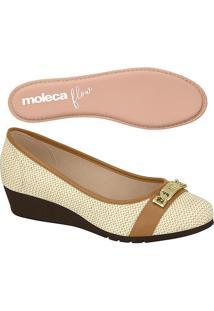 Sapato Anabela Texturizado- Bege & Marrom- Molecamoleca