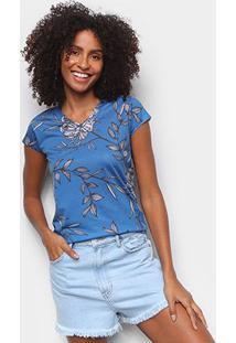 Camiseta Energia Natural Baby Look Básica Feminina - Feminino-Azul Escuro