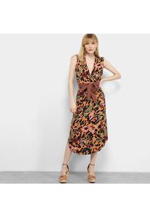 Vestido Il Shin Regata Animal Print Onça Amarração - Feminino-Marrom