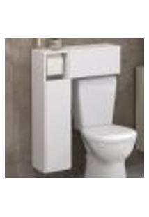 Armário De Banheiro Para Vaso Sanitário C/ Suporte Para Papel Higiênico E 2 Portas Multimóveis Bco