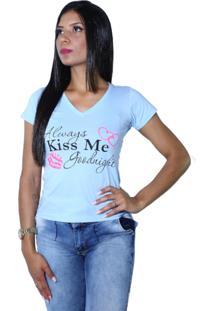 Camiseta Heide Ribeiro Always Kiss Me Goodnight Azul Claro