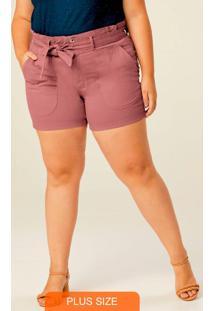 Shorts Rosê Clochard Cintura Alta Plus