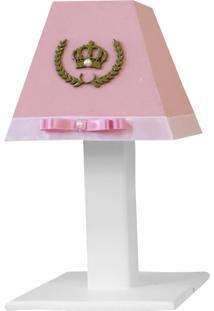 Abajur Princesa Luxo Mdf - Rosê - Príncipes E Princesas