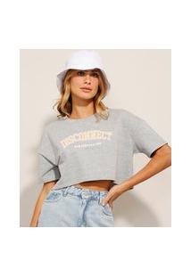 "Camiseta Cropped ""Disconnected"" Manga Curta Decote Redondo Cinza Mescla"