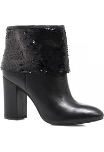 Bota Cano Curto Zariff Shoes Ankle Boot Lantejoulas Preto