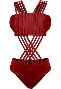 Body Outletdri Suplex Maiô Top Faixa Alcinha Tiras Multi Trançado Em X Vermelho