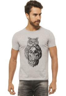 Camiseta Joss - Caveira Coruja - Masculina - Masculino-Mescla