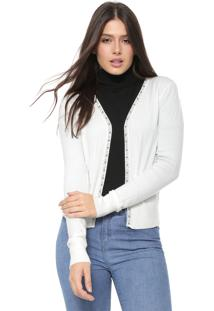 Cardigan Facinelli By Mooncity Tricot Pérolas Off-White