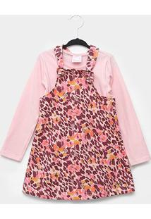 Vestido Quimby Salopete Molecotton Animal Print Onça - Feminino-Rosa