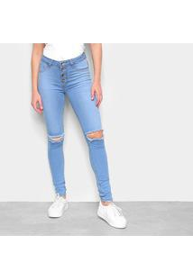 Calça Jeans Skinny Estonada Rasgos Botões Feminina - Feminino
