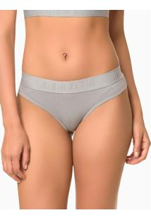 Calcinha Tanga Black Cotton - Light Grey - L