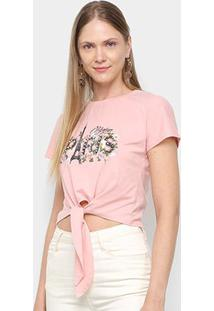 Camiseta Sofia Fashion Cropped Paris Nó Feminina - Feminino-Rosa