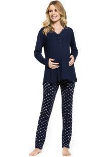 Pijama Inspirate De Inverno Gestante Poá Marinho Azul Marinho