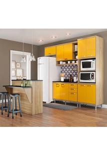 Cozinha Compacta Com Tampo 11 Portas 3 Gavetas 5844 Argila/Amarelo - Multimóveis
