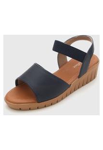 Sandália Usaflex Anabela Azul-Marinho