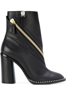 Casadei Ankle Boot Com Detalhe De Zíper - Preto