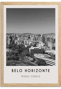 Quadro Oppen House 65X45Cm Cidades Belo Horizonte Brasil Moldura Natural Com Vidro - Oppen House Decora
