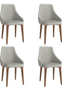 Conjunto Com 4 Cadeiras De Jantar Evelyn Cinza