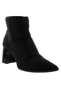 Ankle Boot Tanara Salto Bloco Detalhe Com Hotfix Preto