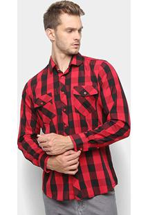 Camisa Xadrez Watkins & Krown Masculina - Masculino-Vermelho+Preto