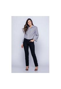 Calça Reta Almaria Plus Size Shyros Jeans Preto