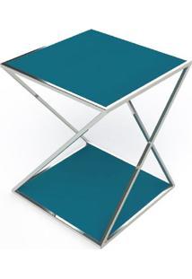 Mesa Lateral Califa Azul Base Cromada 50 Cm (Larg) - 40952 - Sun House