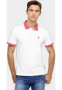 Camisa Polo Cavalera Piquet Bicolor - Masculino-Branco