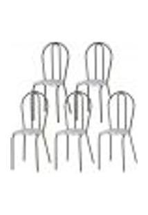 Kit 05 Cadeiras Tubular Cromo Preto 004 Assento Capitone