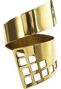 Anel Em Metal Polido - Feminino-Dourado