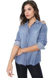 Camisa Jeans Forum Recorte Azul