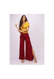 Calça Pantalona Viscose Amazonia Vital Com Fenda Bordô