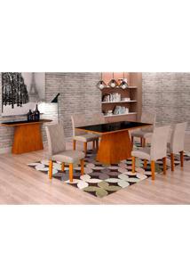 Conjunto De Mesa De Jantar Luna Com 6 Cadeiras Ane I Linho Imbuia E Preto