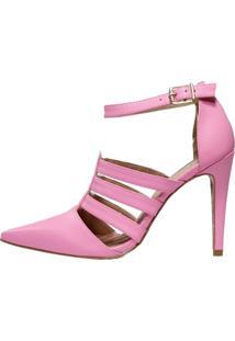 Scarpin Week Shoes Salto Alto Tropical Pink Com Tiras