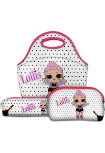 Kit Escolar Tritengo Lollis Pink Baby - Lancheira Necessaire Estojo