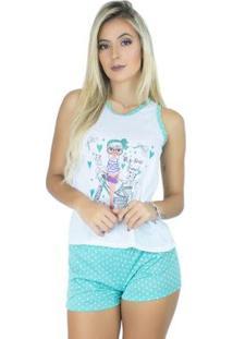 Pijama Mvb Modas Curto Bolinha Feminino - Feminino-Azul