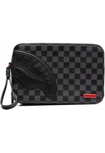 Sprayground Logo-Patch Checked Clutch Bag - Preto