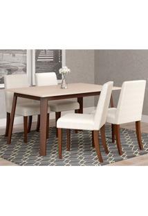 Conjunto De Mesa De Jantar Rússia Com 4 Cadeiras Algodão Off White E Branco