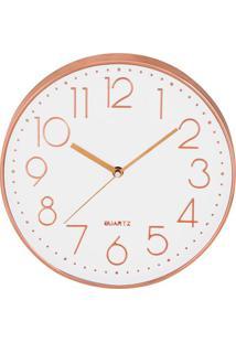Relógio De Parede- Branco & Rosê Gold- Ø35,5X4Cmmart