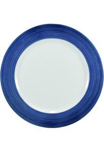 Prato Para Sobremesa Porcelana Schmidt - Dec. Cilíndrica Pintura À Mão Azul