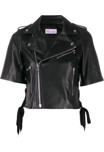 Red Valentino Embroidered Leather Jacket - Preto