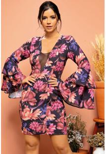 Vestido Floral Preto Tubinho Com Mangas Amplas