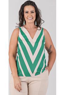 Blusa Cavada Com Estampa Localizada - Talento - Plus Size Verde - Kanui