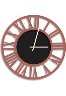 Relógio De Parede Decorativo Premium Vazado Números Romanos Cobre Metálico Com Detalhe Preto Ônix Médio