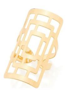 Anel Aro Duplo Retangular Labirinto Rommanel - Feminino-Dourado