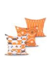 Capa Para Almofada Decorativa Laranja Estampada Kit Com 3 Unidades 45Cm X 45Cm Com Zíper