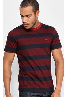 Camiseta Lacoste Full Print Listras Masculina - Masculino-Bordô
