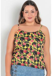 Blusa Floral Amarela Com Alcinhas Plus Size