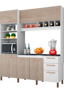 Cozinha Compacta Cacau Branco E Bege Móveis Albatroz